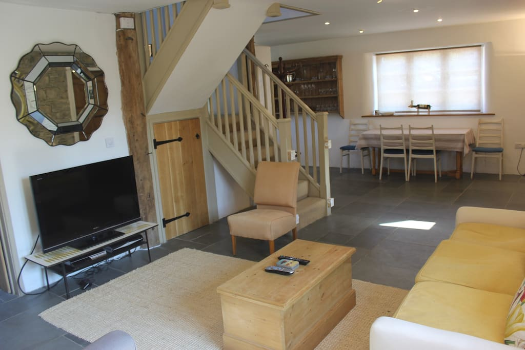 """Sitting Room with Log Burner & 42"""" Sony HD TV with Full Sky Plus Package! & Sony Playstation."""