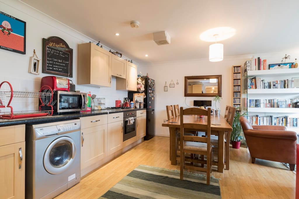 Use of kitchen, Washing machine and Ironing board. A share of the fridge/freezer and some cupboard  space for food….