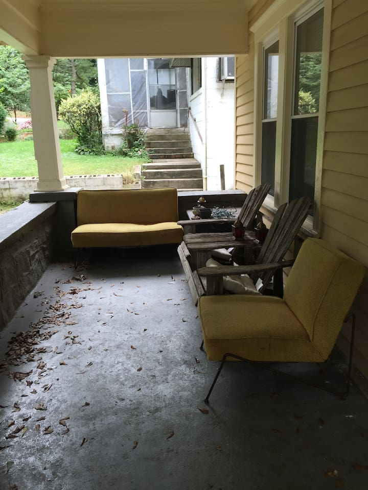 Great porch for sitting and enjoying the weather. Smoking outside only.