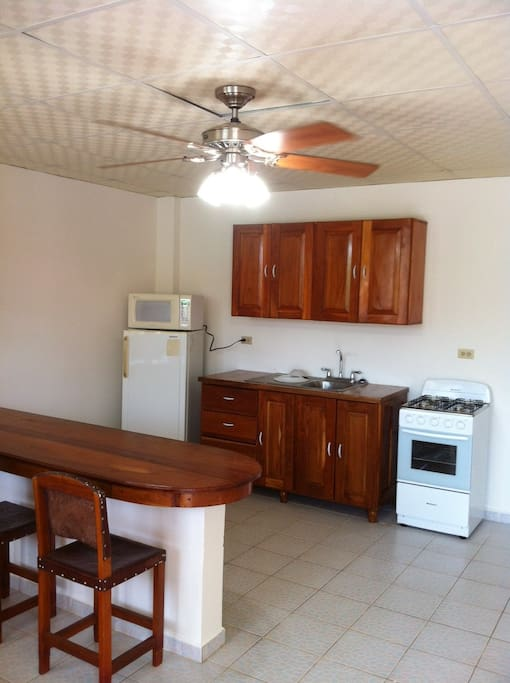 The apartment offers a full kitchen