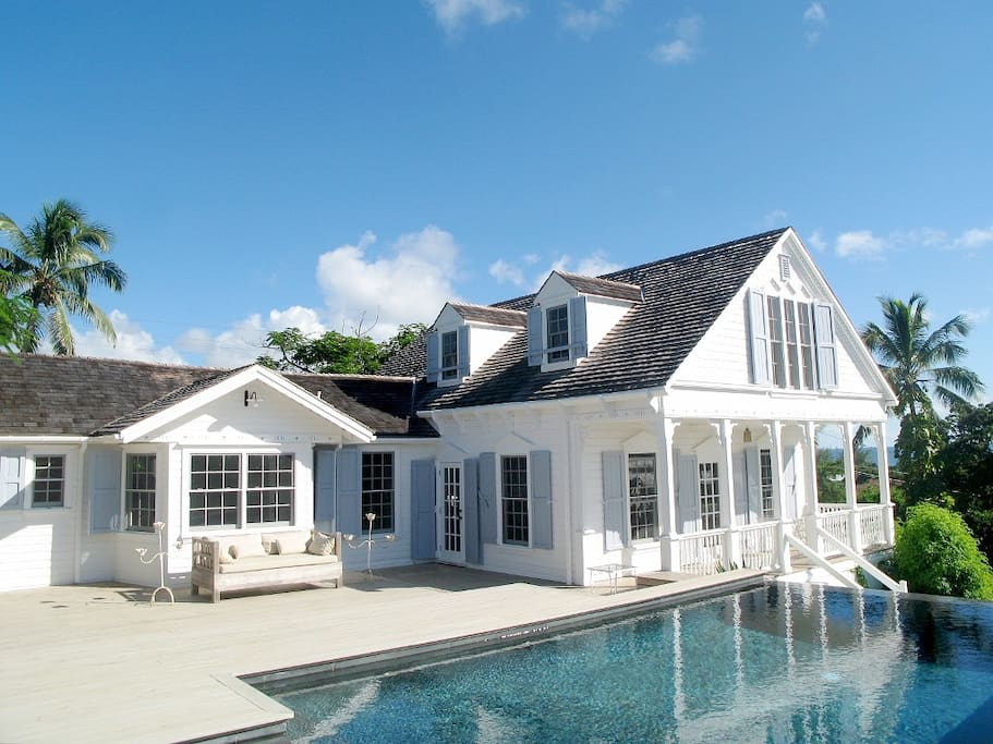 Exterior and pool, shared with two other houses