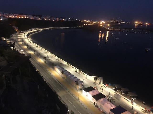 Beach of the city (Vasco da Gama) at night.