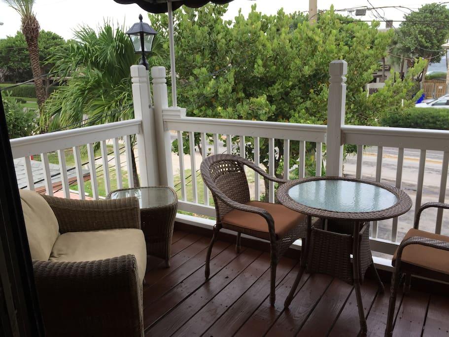 Porch overlooking Ocean Drive