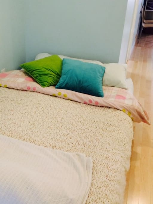 Queen size bed ~ futon with feather top cover.