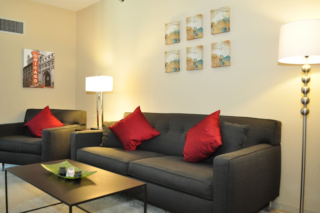 Living Room with Queen Pull Out Sofa