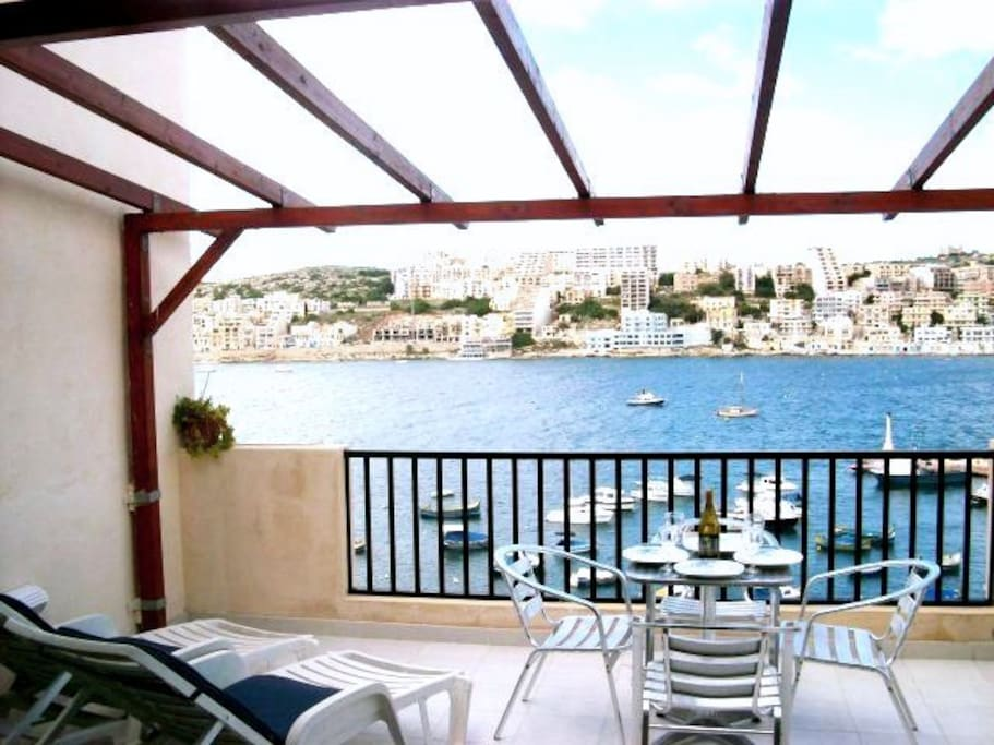 Large outside terrace with seaviews and garden furniture