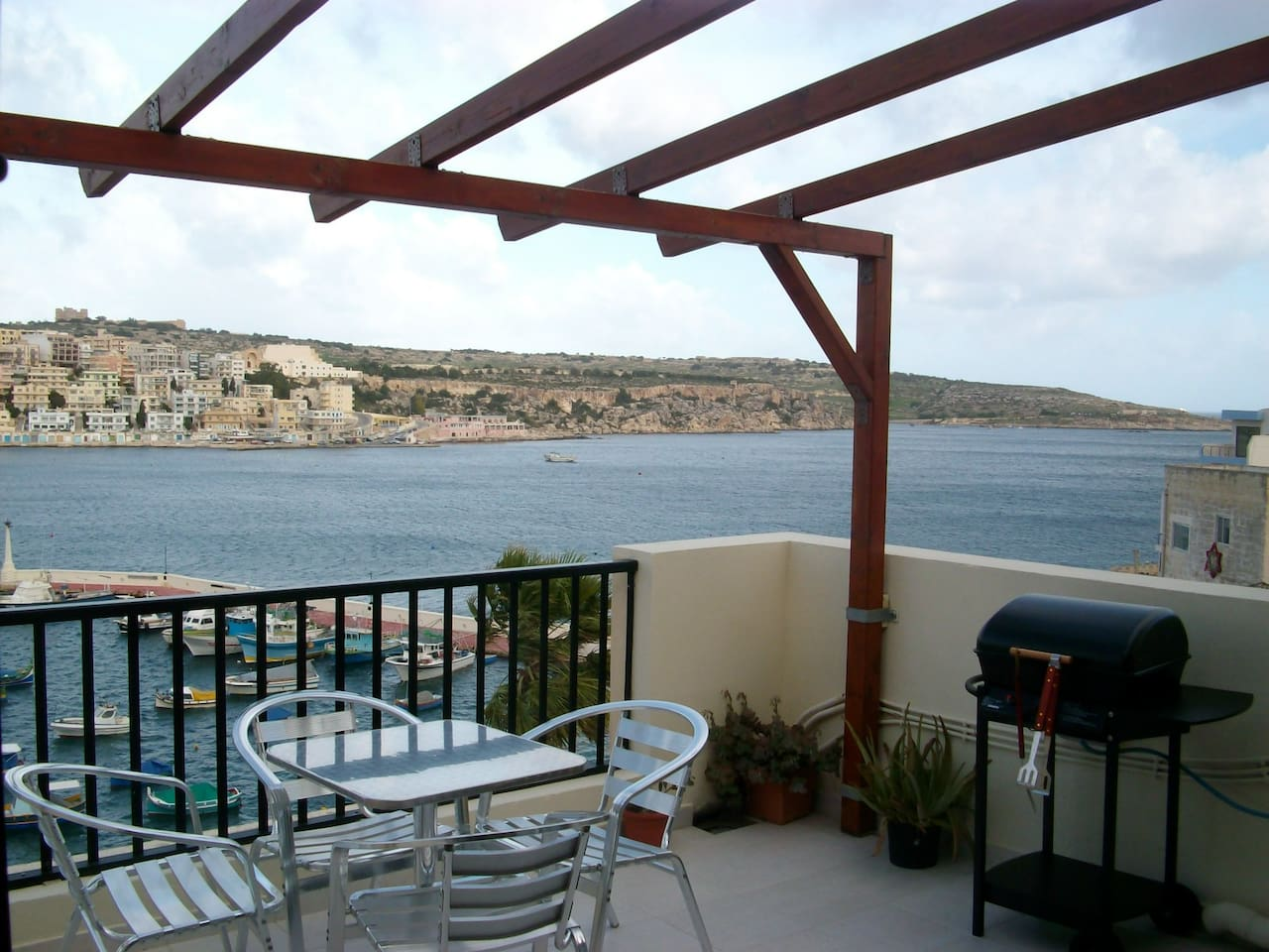 Large seafront terrace with stunning views and bbq