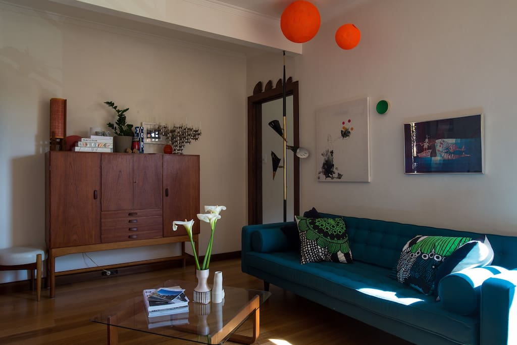 Mid century inspired décor with a slimline couch to collapse on after a day out in Melbourne