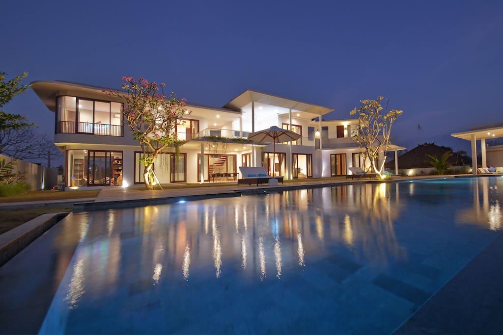 The beautiful villa by night