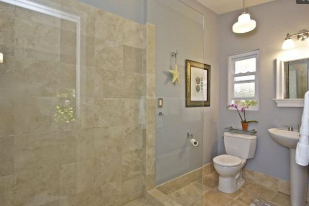 walk in shower with window that looks out on side yard and open space
