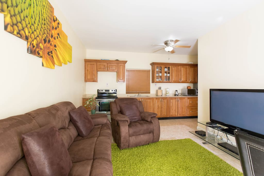 Our Open Planned Living & Dining Room with Internet Enabled Flat Screen TV with Free Wifi