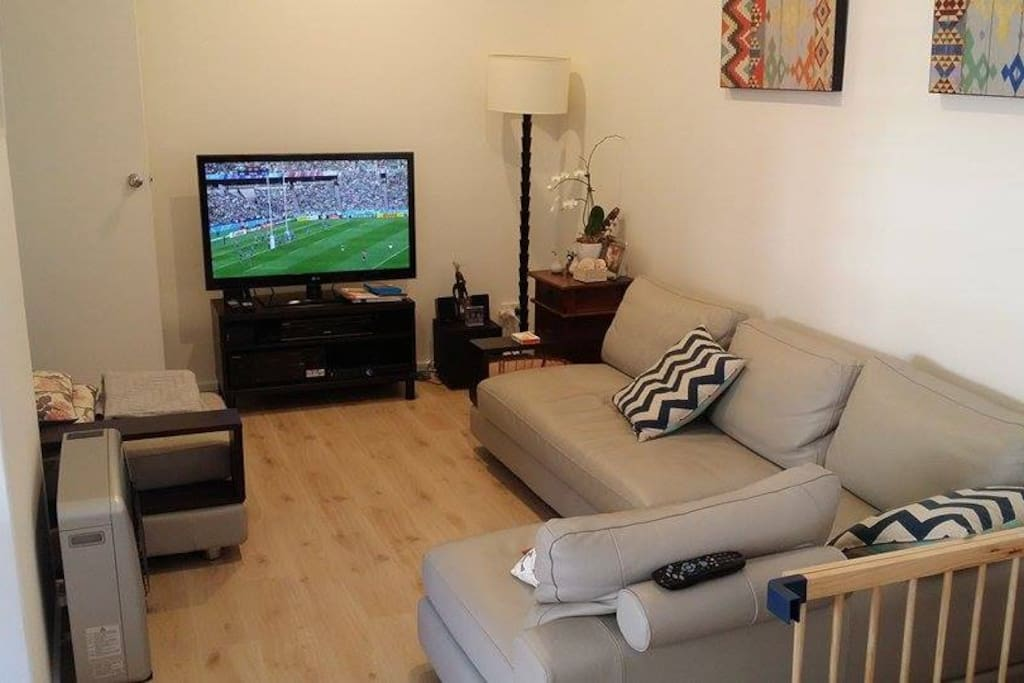 Big leather couch with TV, Foxtel, DVD and Stereo