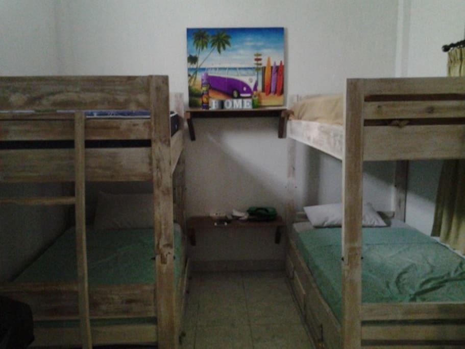Dorm room, sleeps four. 100k per night per bed. aircon