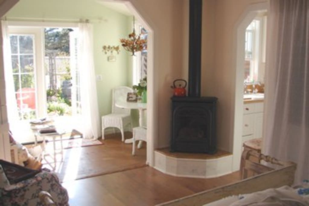Light filled rooms and wonderful gas log stove