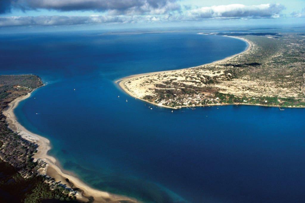 Manda Isl. (LHS) Lamu channel and Lamu Island (RHS) with Shella Village (Centre).