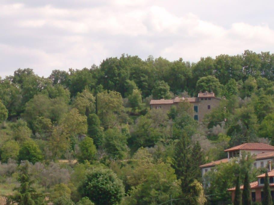 La campagna con al centro la casa colonica in pietra