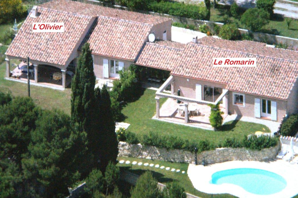 Les deux maisons: l'Olivier et le Romarin