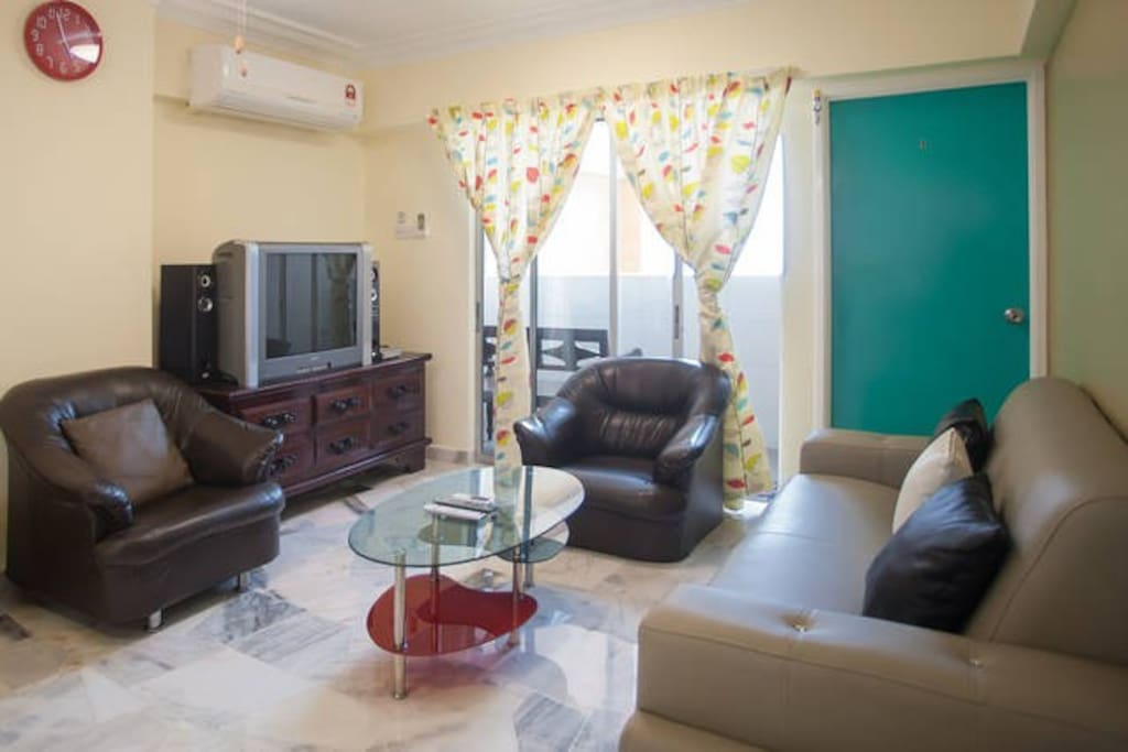 Living Hall Equipped with:- 1) 2hp aircond 2) Sofa 3) Unlimited WIFI speed 30Mbps. 4) 300 Channels Satalite TV 5) DVD player & Hifi System. 6) 6 person dining table.