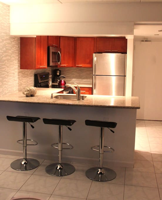 New Gourmet Kitchen all stainless appliances with granite counters to create