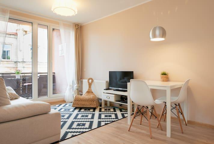 Livingroom overview, TV, wi-fi, dining area, foldout sofa, panoramic window, balcony door