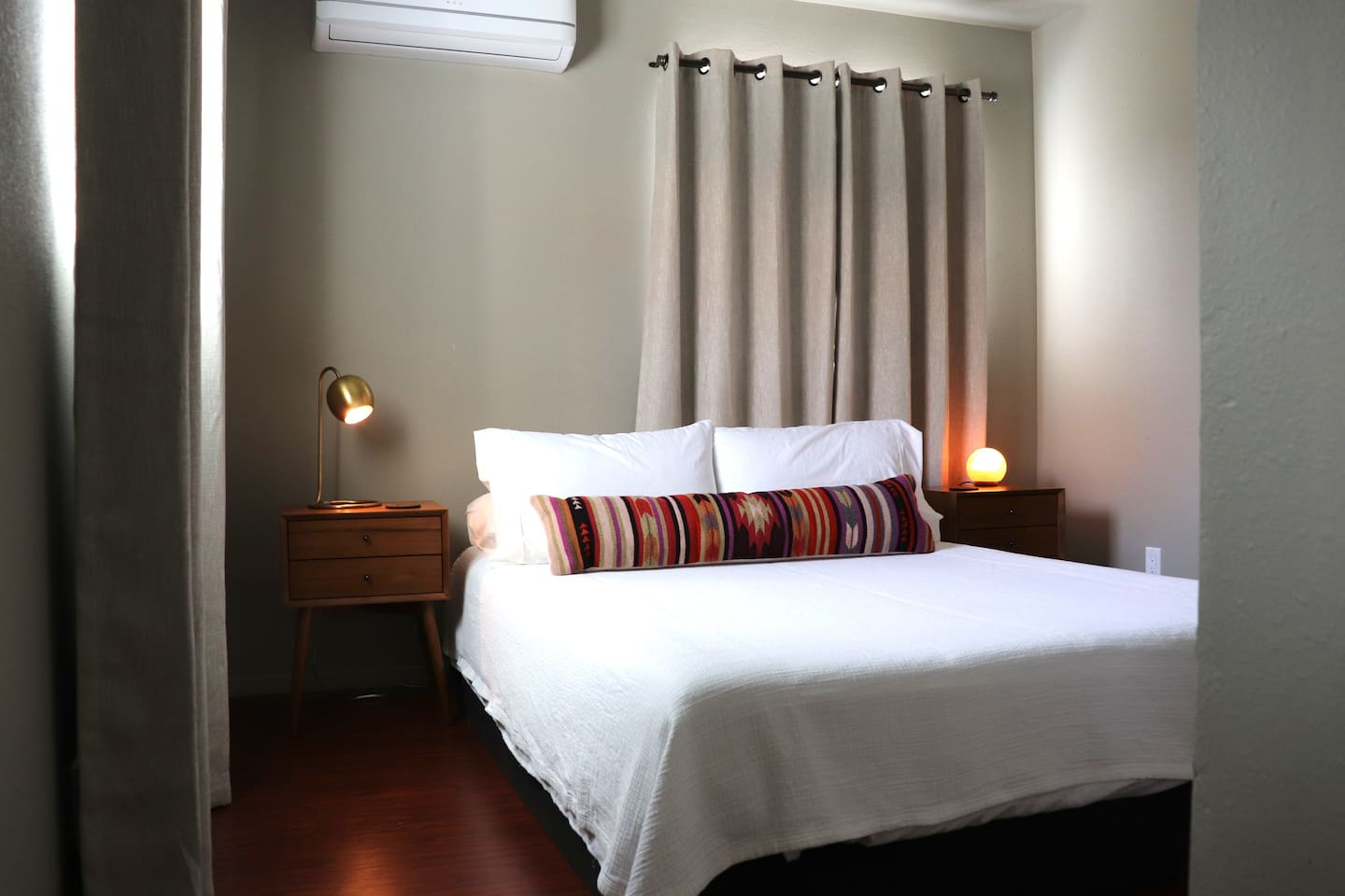 Comfortable queen bed, quiet AC/heating unit, closet with hangers, luggage stands and extra blankets