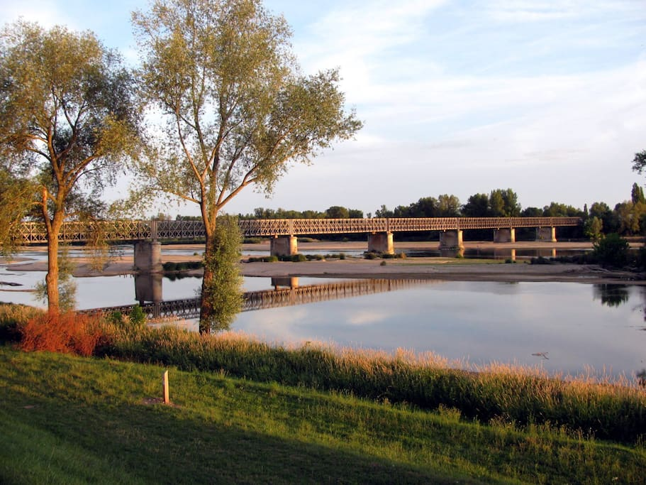 vue générale de la Loire et du pont la traversant
