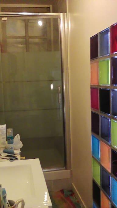 Salle d 'eau avec douche.