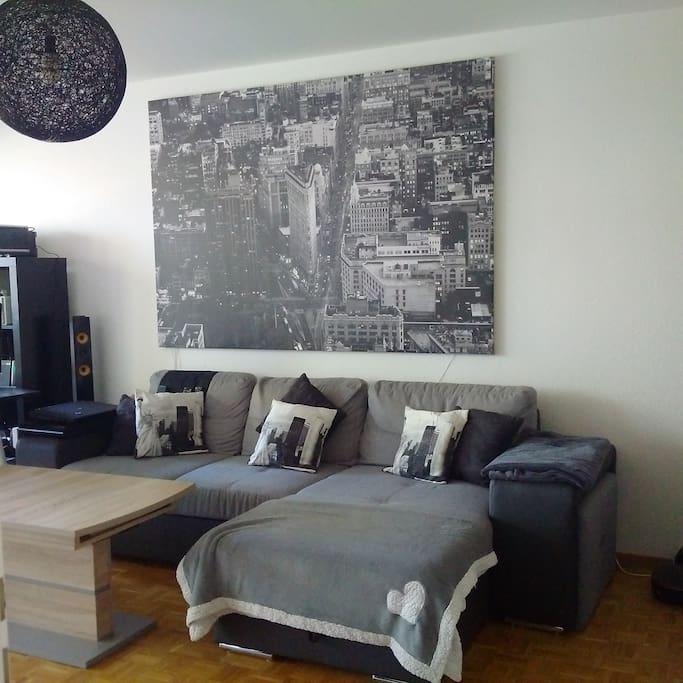 Salon avec canapé lit et pc