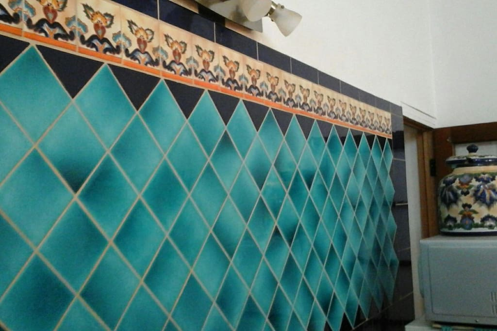 Beautiful tile backsplash with handmade Mexican tiles