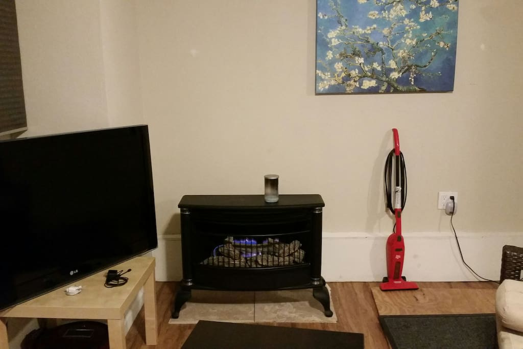 The gas fireplace is perfect for making the apartment nice and toasty.