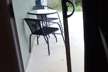 Table for two... just for you, on patio outside your bedroom door.