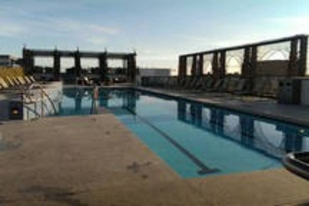 While the pool may not be warm enough to swim in the roof deck remains open year round with the hot tub always open!