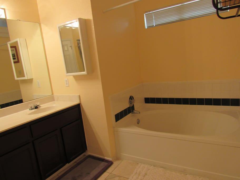 Large bathroom and garden tub