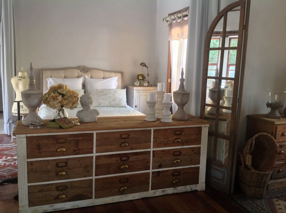 More shots of elegant bedroom with French stake bed.