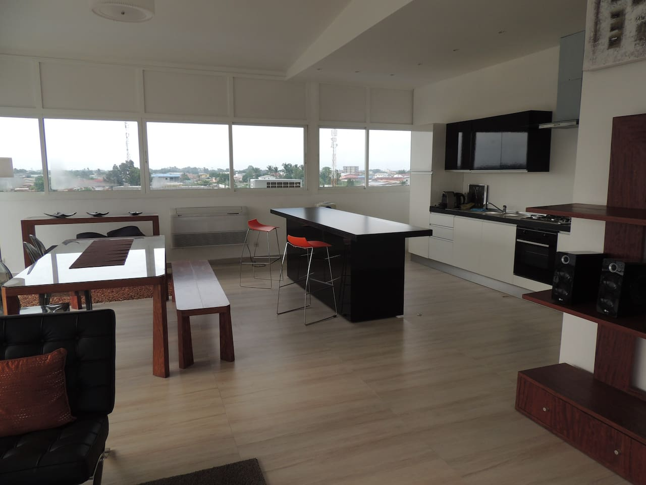 The penthouse offers an open fully equiped kitchen