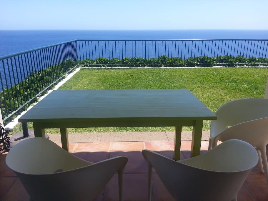 The Balcony of the Villa, stunning 180°degrees Sea view, grass.
