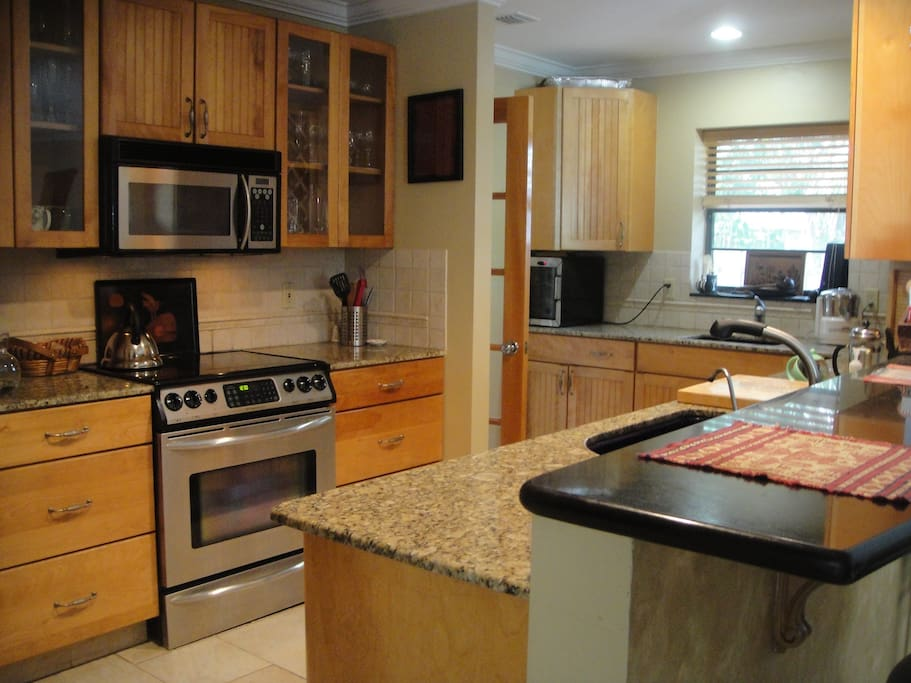 Well equipped kitchen. 2 deep sinks.