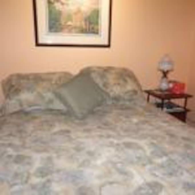 Ensuite Guest Room Queen bed. Excellent mattress.