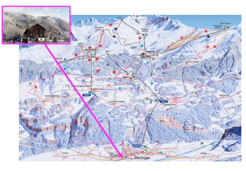 Lage auf der Winterkarte Skigebiet Meiringen-Hasliberg