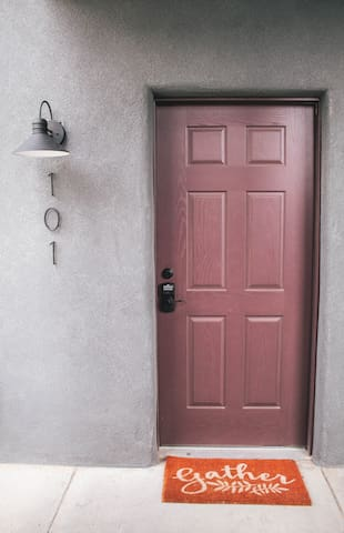 Front door with easy keypad entrance - no need to carry keys around!