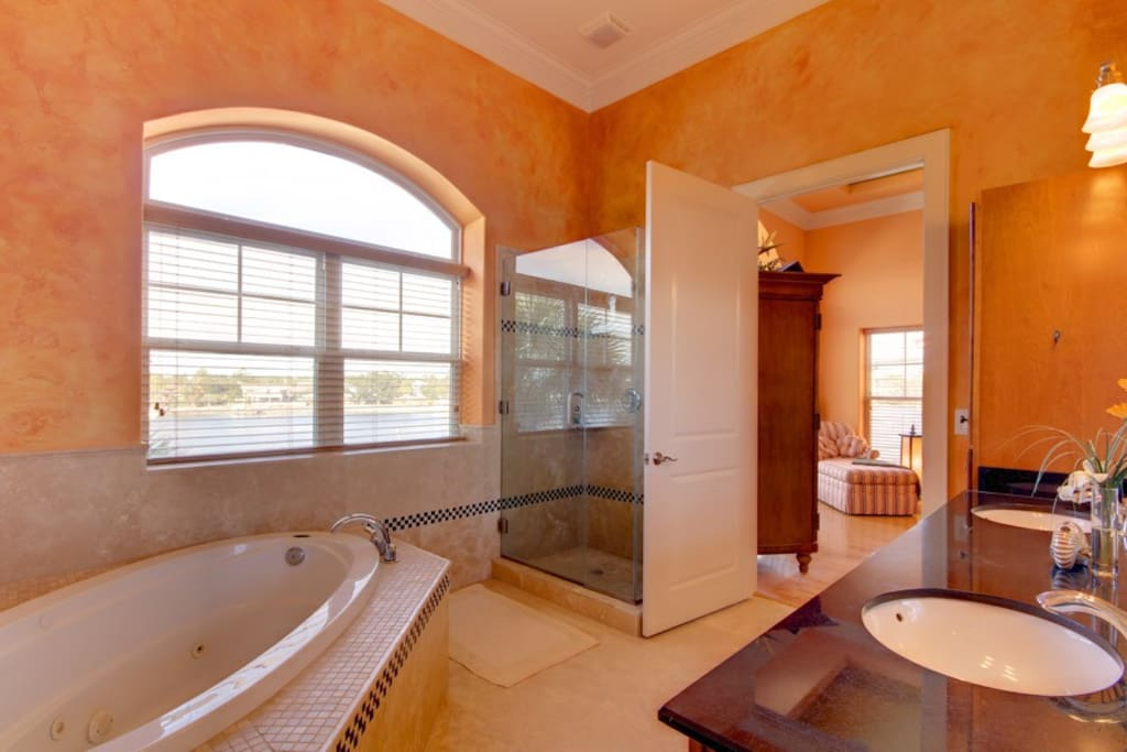 Master Bath with Jacuzzi tub and waterview