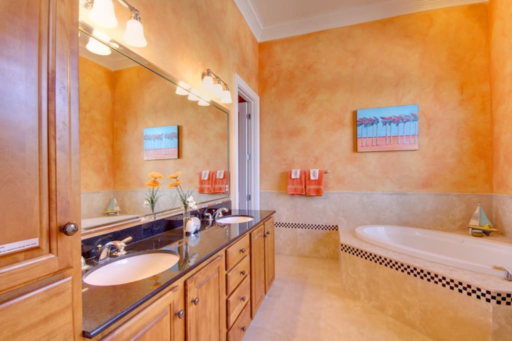 Master Bath with Granite countertop and 2 sinks