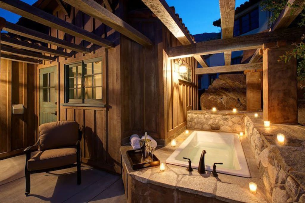 Patio Soaking Tub at Guest House #137