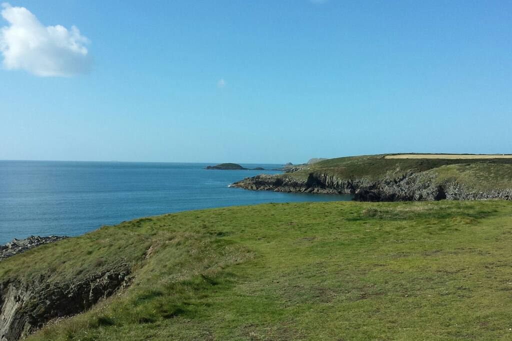 View out of St Brides bay from the coast path.