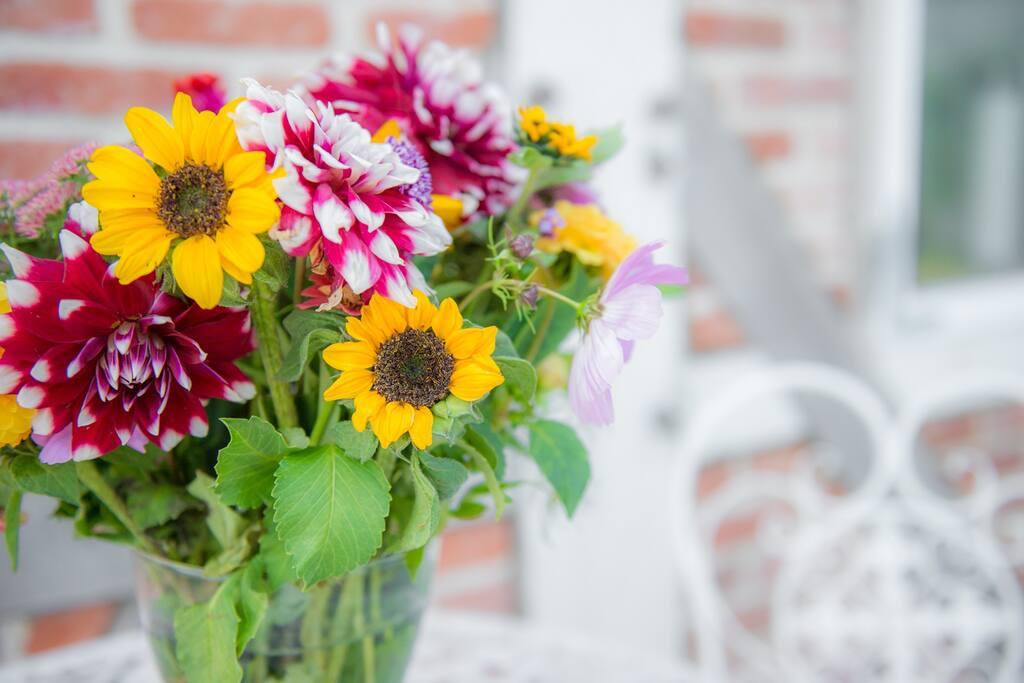 Auch Blumen werden angebaut.