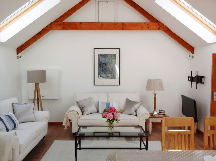 The Living Area: A light vaulted room with contemporary furnishings