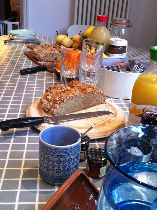 A cooked English Breakfast at weekends, maybe even home made Irish Soda Bread!