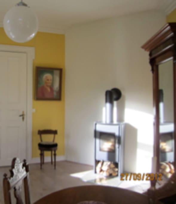 Lys stue/soverom med dobbeltseng og peis