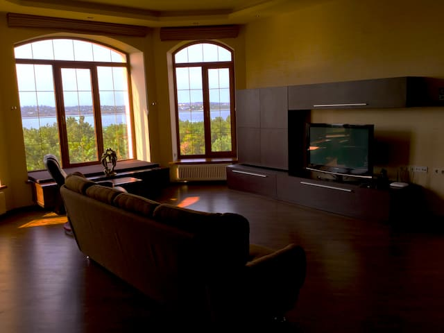 Living room with a gorgeous view