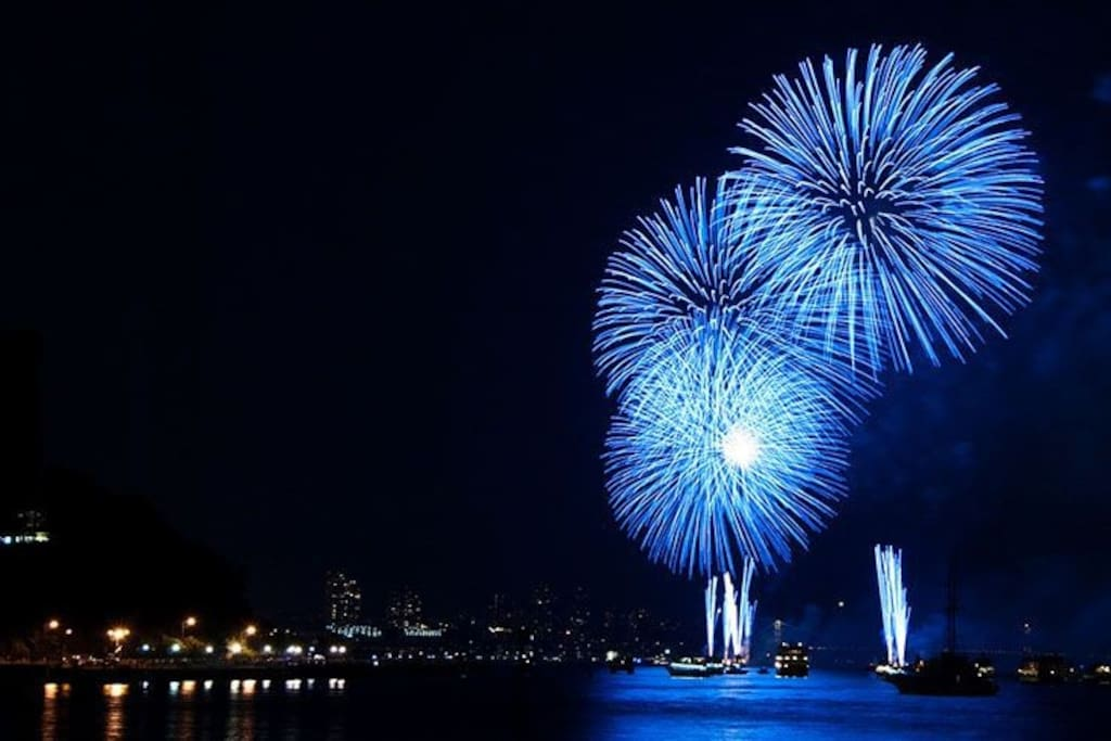 New Year with firework in Troia and Setúbal